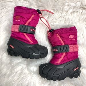 Sorel Flurry Pink & Black Snow Winter Boots size 6